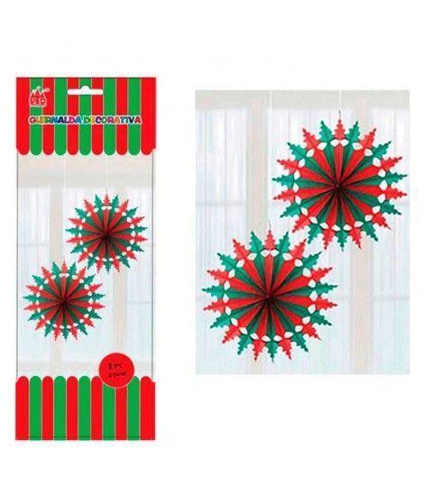 Colgante Papel Rojo y Verde Decoración Navidad