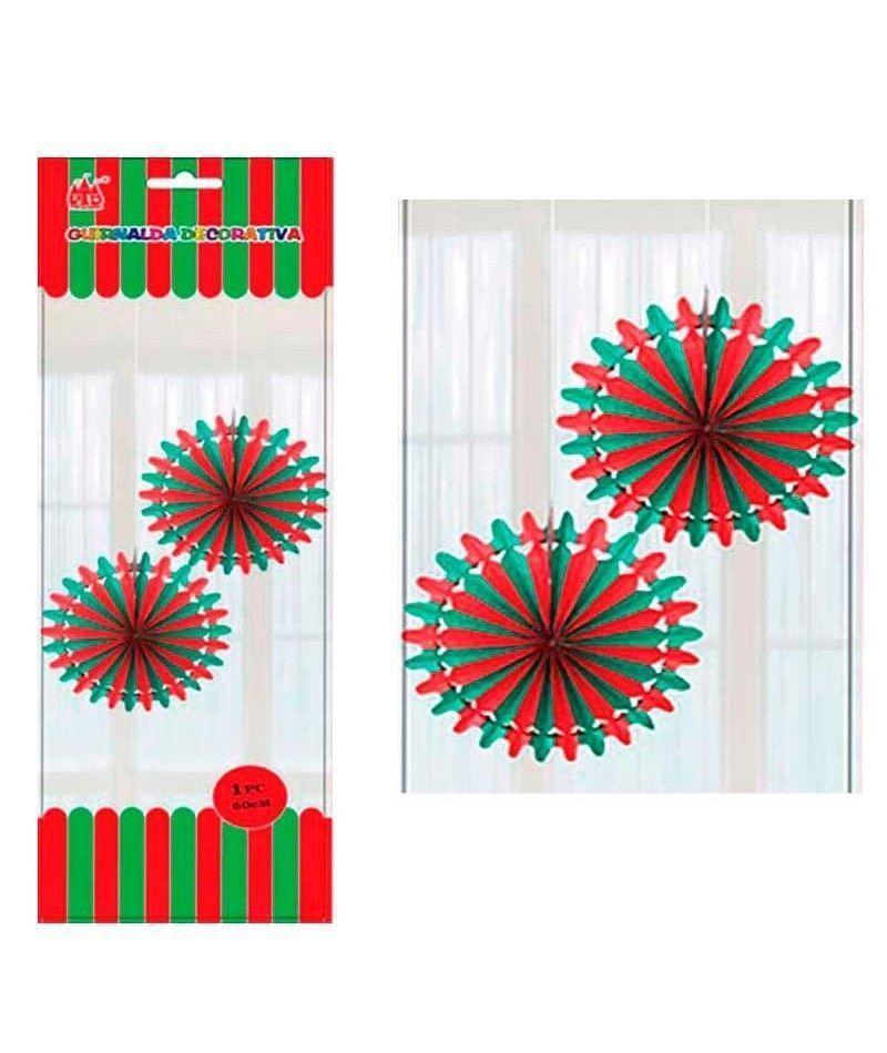 Colgante papel rojo y verde decoraci n navidad - Decoracion navidad papel ...