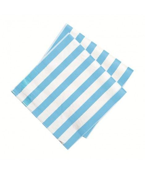 Servilletas Azules Rayas Blancas (20 uds)