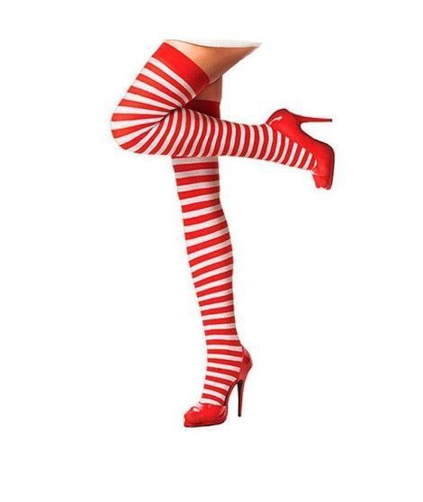 Pantys Rayas Blancas Rojas Accesorio Carnaval y Halloween