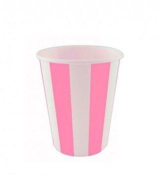 Vaso de Papel Rosa Rayas 200 ml (10 uds)