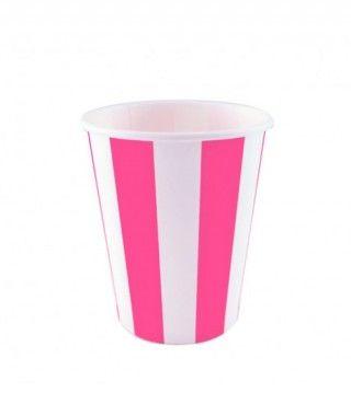 Vaso de Papel Fucsia Rayas 200 ml (10 uds)