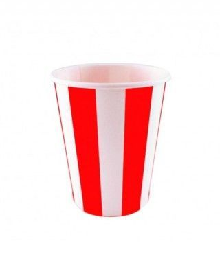 Vaso de Papel Rojo Rayas 200 ml (10 uds)