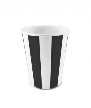 Vaso de Papel Negro Rayas 200 ml (10 uds)