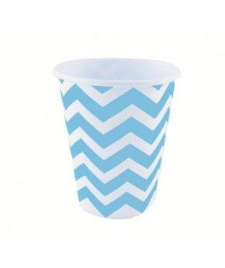 Vaso de Papel Azul Zigzag 200 ml (10 uds)