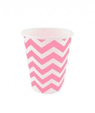 Vaso de Papel Rosa Zigzag 200 ml (10 uds)