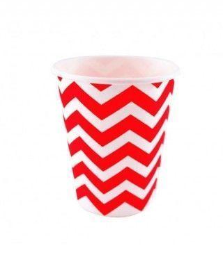 Vaso de Papel Rojo Zigzag 200 ml (10 uds)