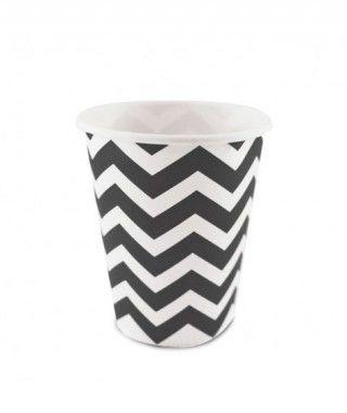 Vaso de Papel Negro Zigzag 200 ml (10 uds)