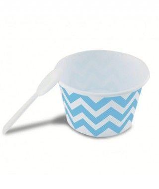 Tarrinas/Vasos Helado 6OZ/180 ml Azules Zigzag