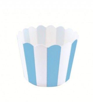 Cápsulas Cupcake Azul Rayas (12 uds)