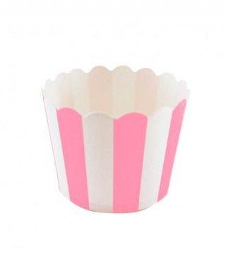Cápsulas Cupcake Rosa Rayas (12 uds)
