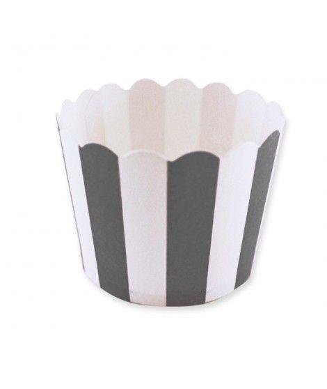 Cápsulas Cupcake Negro Rayas (12 uds)