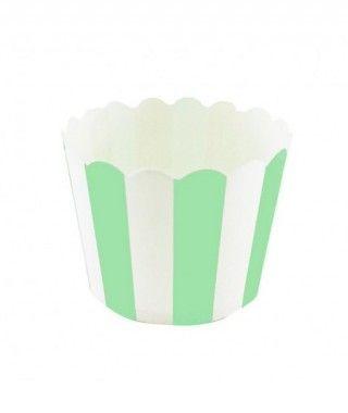 Cápsulas Cupcake Verde Rayas (12 uds)