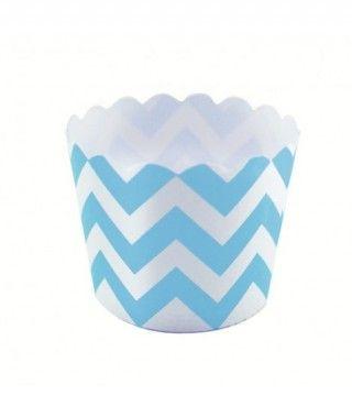 Cápsulas Cupcake Azul Zigzag (12 uds)