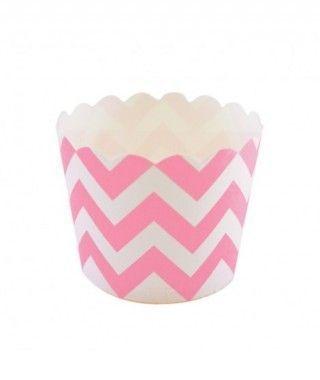 Cápsulas Cupcake Rosa Zigzag (12 uds)