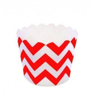 Cápsulas Cupcake Rojo Zigzag (12 uds)