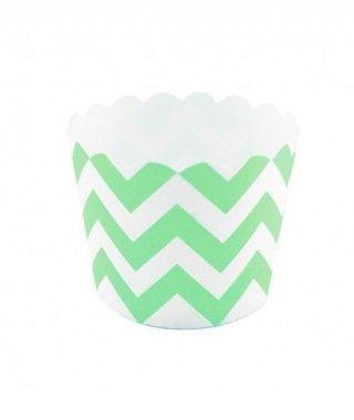 Cápsulas Cupcake Verde Zigzag (12 uds)