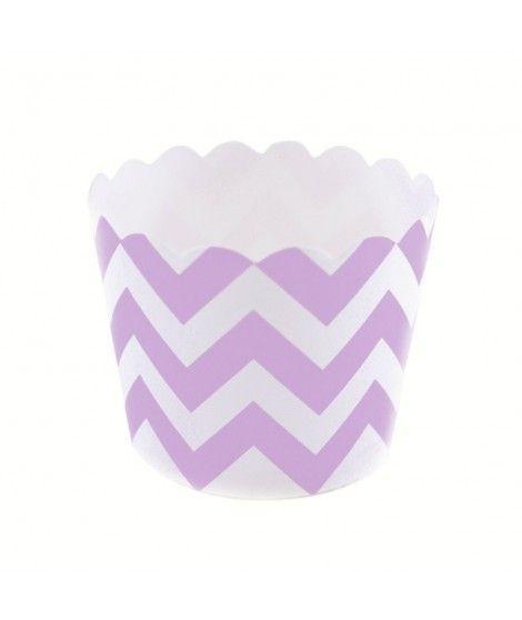 Cápsulas Cupcake Morado Zigzag (12 uds)