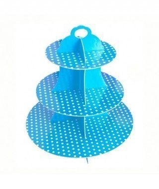 Torre Cupcakes Azul Cartón Lunares