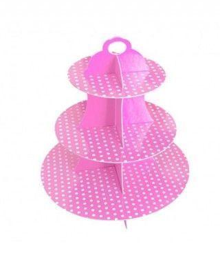 Torre Cupcakes Rosa Cartón Lunares