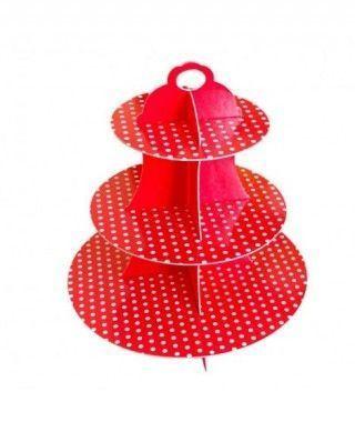 Torre Cupcakes Roja Cartón Lunares
