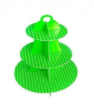 Torre Cupcakes Verde Cartón Lunares