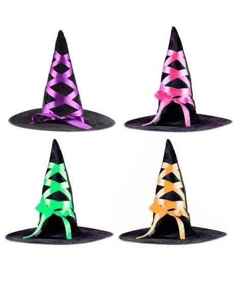 Sombrero de Bruja Terciopelo con lazos Accesorio Halloween