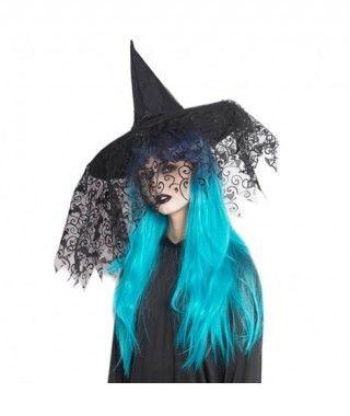 Sombrero Bruja Negro con Tul Dibujado