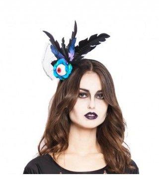Diadema Halloween Ojo con Plumas