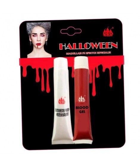 Set Maquillaje Halloween Blanco y Sangre