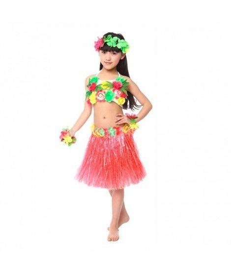 Falda Hawaiana Hula Infantil Roja (30 cm)