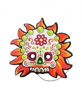 Careta Muerte Mejicana Llamas Print Metalizado