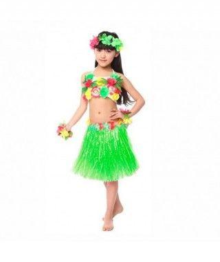 Falda Hawaiana Hula Infantil Verde (30 cm)