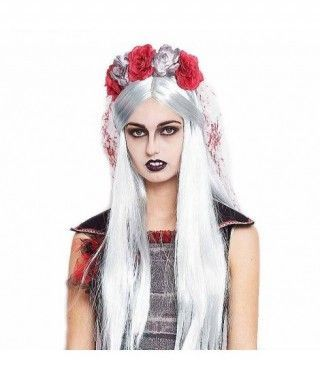 Peluca Blanca Larga Halloween