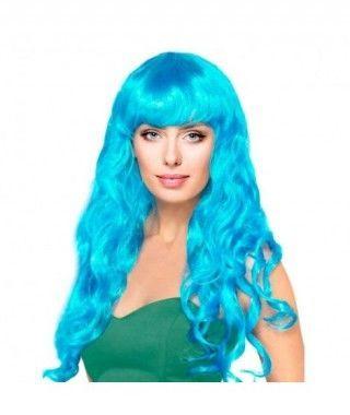 Peluca Sirena Azul Ondulada
