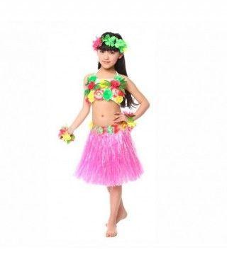 Falda Hawaiana Hula Infantil Fucsia (30 cm)