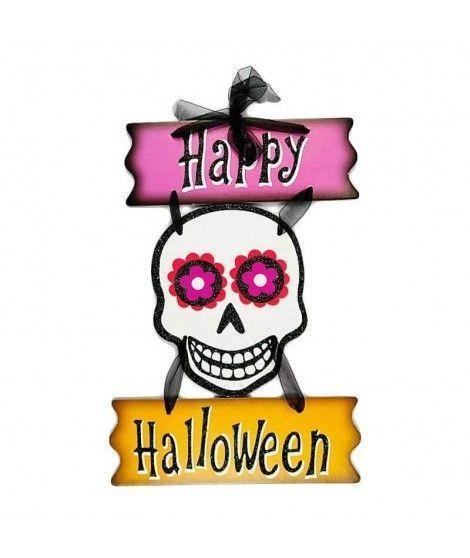 Cartel Halloween Calavera Floreada KT