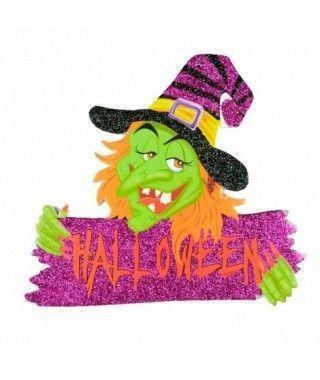 Cartel Halloween Bruja Verde KT 20 cm