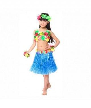 Falda Hawaiana Hula Infantil Azul (30 cm)