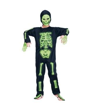 Disfraz Esqueleto Huesos Verdes 3D infantil