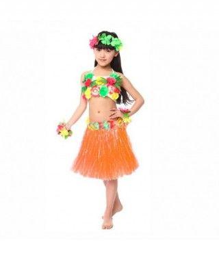 Falda Hawaiana Hula Infantil Naranja (30 cm)
