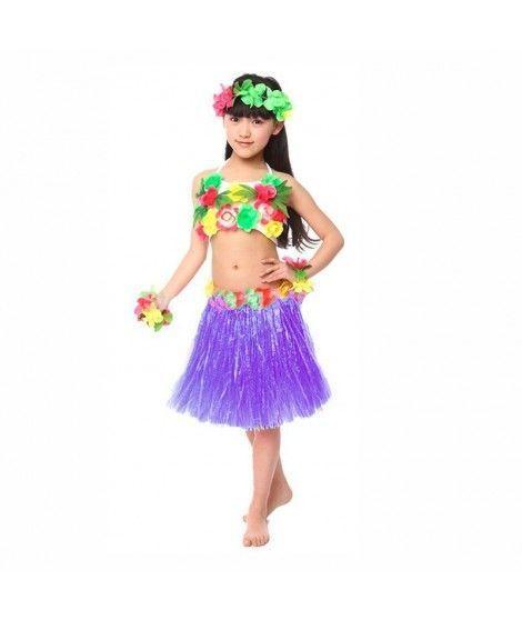 Falda Hawaiana Hula Infantil Morada (30 cm)