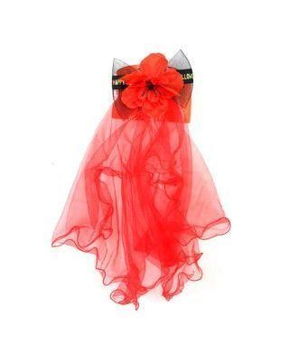 Velo Rojo Flor Halloween