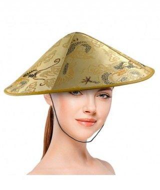 Sombrero Chino Satinado Redondo Dorado