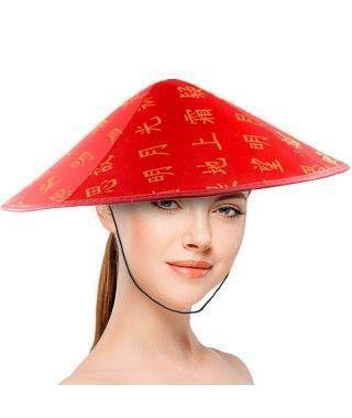Sombrero Chino Satinado Redondo Rojo