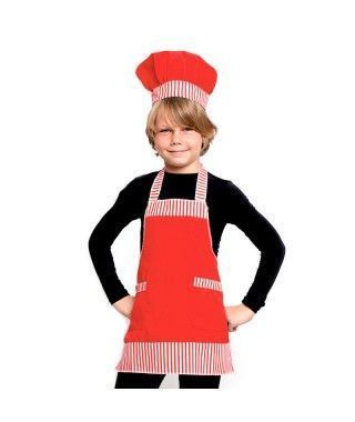 Conjunto Cocinero Chef infantil rojo Accesorio Carnaval