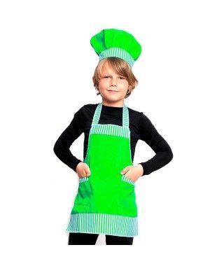Conjunto Cocinero Chef infantil verde Accesorio Carnaval