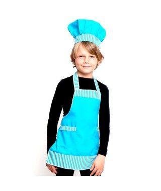 Conjunto Cocinero Chef infantil azul Accesorio Carnaval