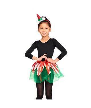 Conjunto Elfo Duende Navidad Tutú y Diadema