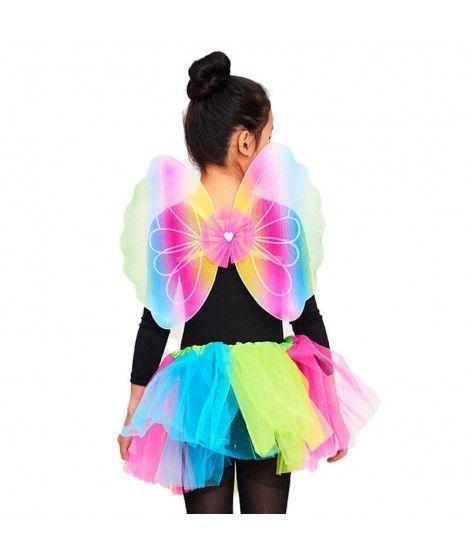 Conjunto Alas mariposa y Tutú Arco Iris Niña Infantil